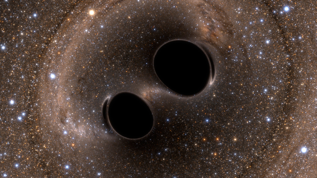 Black hole collision and_merger releasing gravitational_waves - Picture courtesy of Simulating eXtreme Spacetimes